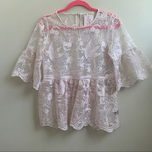 NWT POL pink lace top tunic  S